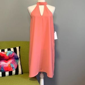 Leith Pink Blossom High Collar Swing Dress NEW